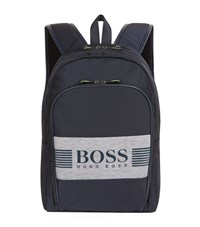 Hugo Boss Green Logo Printed Backpack Unisex Navy