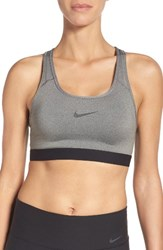 Nike Women's 'Pro Classic' Dri Fit Padded Sports Bra Carbon Heather Black Black