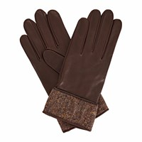 Gizelle Renee Beatrisa Dark Brown Leather Gloves With Brown Speckle Wool