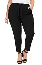 Evans Plus Size Tie Waist Tapered Pants Black