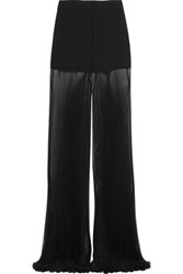Versace Cady And Plisse Silk Chiffon Wide Leg Pants Black