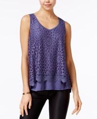 Amy Byer Bcx Juniors' Tiered Lace Tank Top Denim