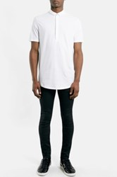 Topman Extended Placket Jersey Polo White
