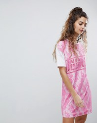 Asos Design T Shirt Dress With Lace Overlay White Pink Multi