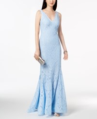 Betsy And Adam Lace V Neck Mermaid Gown Powder Blue