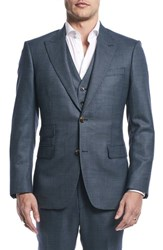 Strong Suit By Ilaria Urbinati Finch Trim Fit Three Piece Solid Wool Nordstrom Exclusive Pacific Blue Dot
