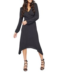 Miss Selfridge V Neck Polka Dot Dress Navy