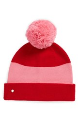 Kate Spade New York Colorblock Knit Beanie Red Fleur De Lis Charm Red
