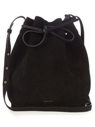 Mansur Gavriel Leather Lined Suede Bucket Bag Black