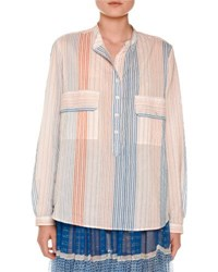 Stella Mccartney Striped Gauze Two Pocket Blouse Multi Multi Colors