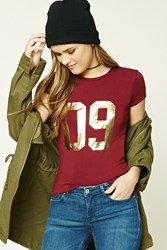Forever 21 09 Graphic Tee Burgundy Gold