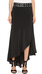 Haute Hippie Asymmetrical Maxi Skirt Black