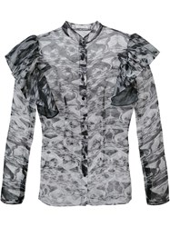 Sophie Theallet Sheer Ruffled Shoulders Blouse Grey