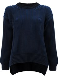 Paco Rabanne Ribbed Loose Fit Jumper Blue