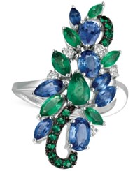 Le Vian Precious Collection Sapphire 2 Ct. T.W. Emerald 1 Ct. T.W. And Diamond 1 5 Ct. T.W. Statement Ring In 14K White Gold Multi