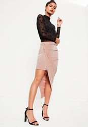 Missguided Pink Slinky Asymmetric Ruched Side Midi Skirt Rose