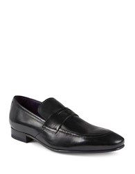 Ted Baker Almond Toe Leather Loafers Black