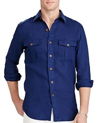 Polo Ralph Lauren Linen Utility Classic Fit Button Down Shirt Holiday Navy