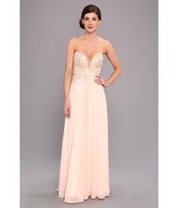 Faviana Glamour Strapless Floral And Mesh Bodice Gown S7325 Soft Peach Women's Dress Beige