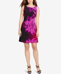 American Living Floral Print Jersey Dress Purple Red