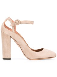 Aquazzura Ankle Strap Pumps Nude Neutrals