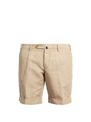 Incotex Slim Leg Linen Blend Shorts Beige