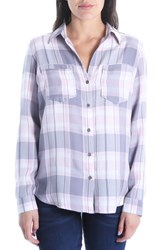 Kut From The Kloth Hannah Button Down Plaid Shirt Grey Rose