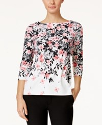 Charter Club Floral Print Boat Neck Top Only At Macy's Cloud Combo