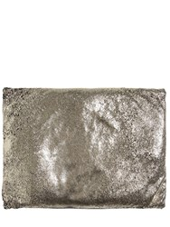 Cutuli Home Crackled Metallic Leather Pillow Gold