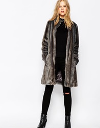 Urbancode Faux Fur Coat With Funnel Neck Stormmink