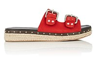 Barneys New York Studded Suede Espadrille Slide Sandals Red
