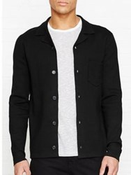 Reiss Bilson Long Sleeve Knitted Cuban Collar Cardigan Black