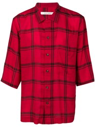 Covert Checked Cropped Sleeve Shirt Red