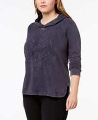 Style And Co Plus Size Cotton Embroidered Hoodie Created For Macy's Industrial Blue