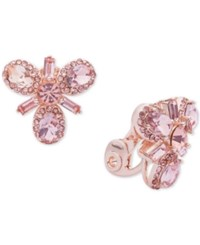 Anne Klein Rose Gold Tone Crystal Cluster Clip On Earrings