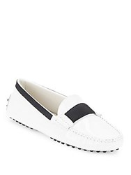 Tod's Colorblock Leather Moccasins White