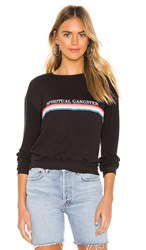 Spiritual Gangster Sg Rainbow Neck Savasana Sweater In Black. Vintage Black