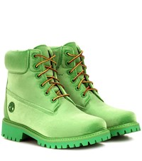 Off White X Timberland Velvet Ankle Boots Green