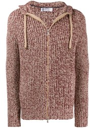 Brunello Cucinelli Chunky Knit Zip Up Hoodie Red