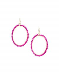 Panacea Wire Wrapped Crystal Circle Drop Earrings Pink