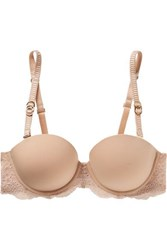 Stella Mccartney Stretch Jersey And Lace Underwired Balconette Bra Sand