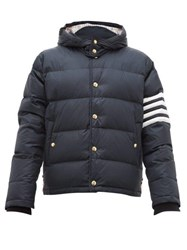 Thom Browne 4 Bar Hooded Quilted Down Coat Navy