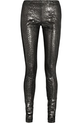 Haider Ackermann Jersey Paneled Metallic Python And Suede Leggings