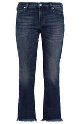 Love Moschino Cropped Embellished Mid Rise Bootcut Jeans Mid Denim