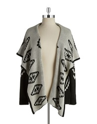 Bb Dakota Plus Tribal Print Cardigan Black Grey