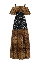 Dolce And Gabbana Off The Shoulder Leopard Polka Dot Dress Print