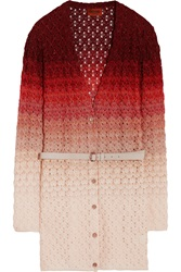 Missoni Belted Metallic Crochet Knit Cardigan Red