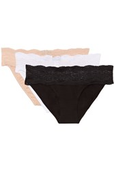 Cosabella Dolce Set Of Three Lace Trimmed Cotton Briefs Black