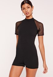 Missguided Crepe And Fishnet Playsuit Black