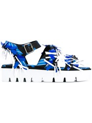 Msgm Abstract Print Sandals Women Cotton Leather Polyester Rubber 39 Blue